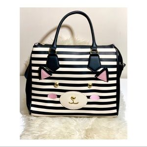 Betsey Johnson Striped Cat Face Bag Satchel